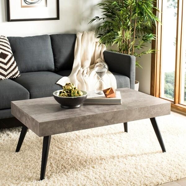 "Safavieh Cedric Modern Light Grey/ Black Coffee Table - 43.3"" x 23.6"" x 16.5"""