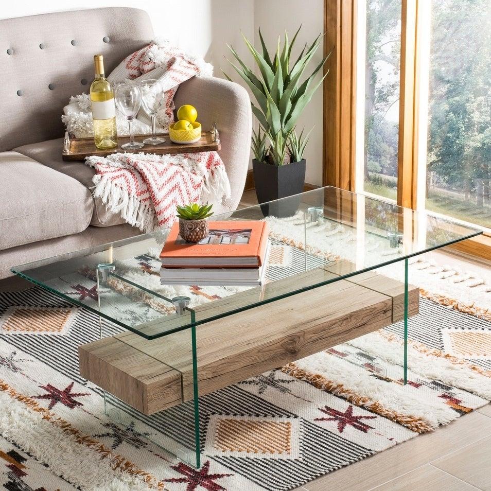 Shop Safavieh Kayley Natural Glass Coffee Table - natural / glass ...