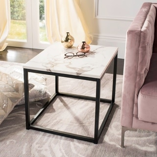 "Safavieh Baize White/ Grey End Table - 18.9"" x 18.9"" x 17.7"""