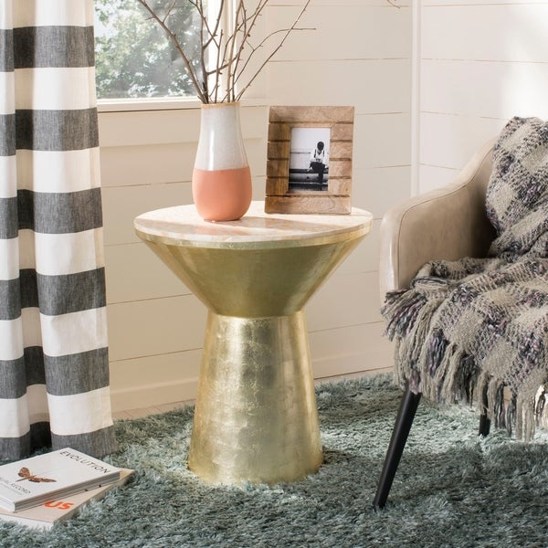 Safavieh Fae Pink Champagne/ Gold Mosaic Top Round Side Table