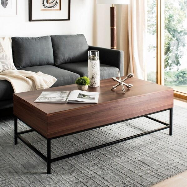Safavieh Gina Dark Oak Black Lift Top Coffee Table