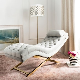 Bon Safavieh Monroe Grey/ Gold Chaise With Round Pillow   65u0027 X 23u0027 X