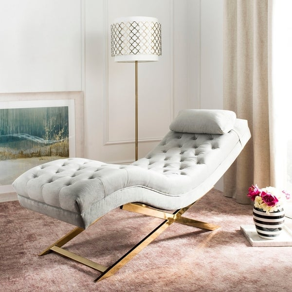 Shop Safavieh Monroe Grey Gold Chaise With Round Pillow