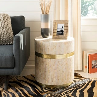 "Safavieh Perla Pink Champagne/ Gold Mosaic Round Side Table - 19.7"" x 19.7"" x 22"""