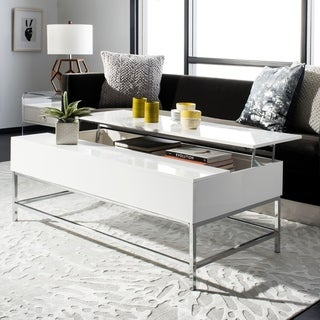 Safavieh Carolina White Chrome Lift-Top Coffee Table