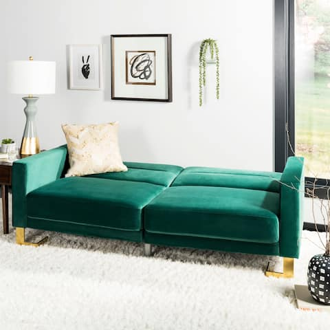 Safavieh Tribeca Emerald Brass Foldable Futon Bed - 77.1' x 33.1' x 36.6'