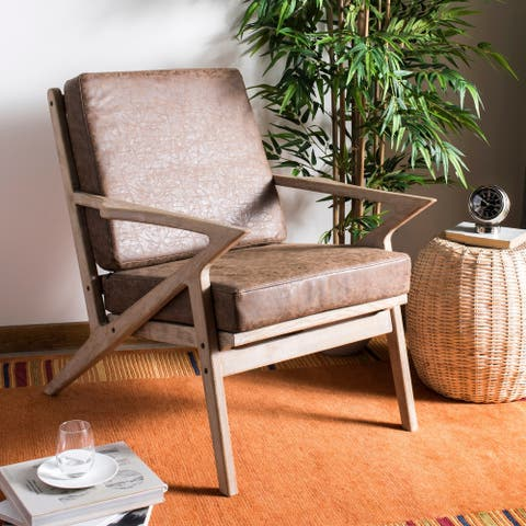 "Safavieh Varys Light Brown/ White Accent Chair - 33.1"" x 27.2"" x 31.9"""
