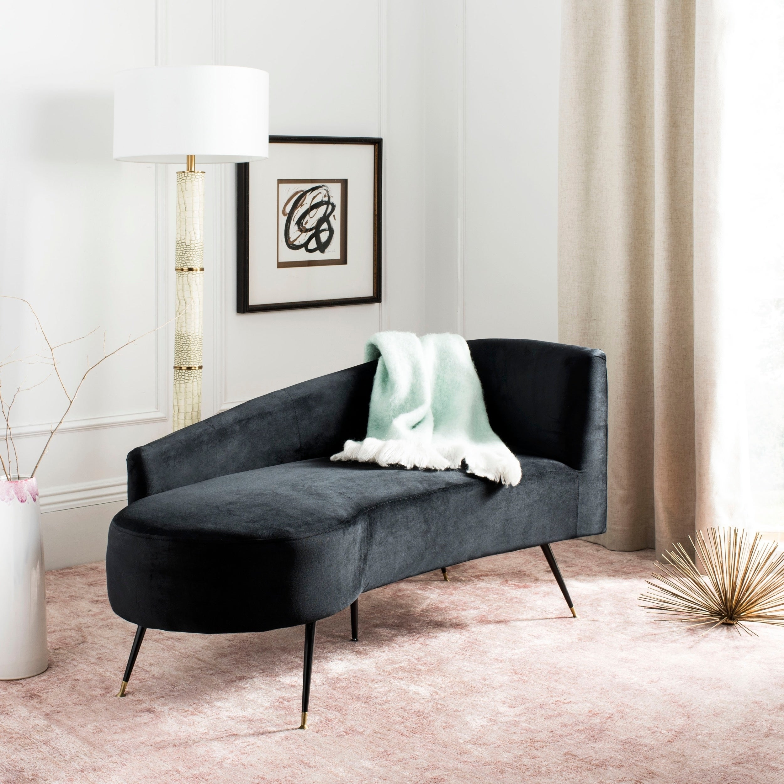 Outstanding Safavieh Ezra Black Gold Settee 57 5 X 27 X 28 Beatyapartments Chair Design Images Beatyapartmentscom