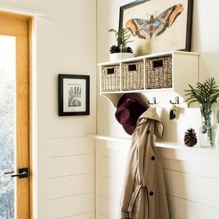 "Safavieh Finley White Hanging 3-basket Wall Rack - 28"" x 7.8"" x 12"""