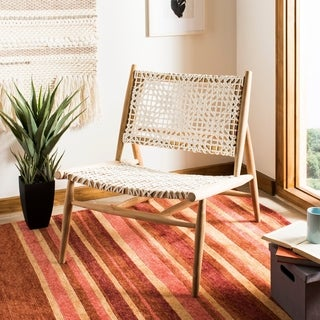 Safavieh Bandelier Off-White/ Light Oak Leather Weave Accent Chair