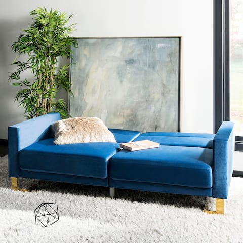 Safavieh Tribeca Navy Brass Foldable Futon Bed - 77.1' x 33.1' x 36.6'