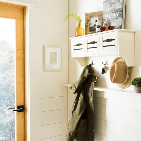 Safavieh Leon White Hanging 3-drawer Wall Rack