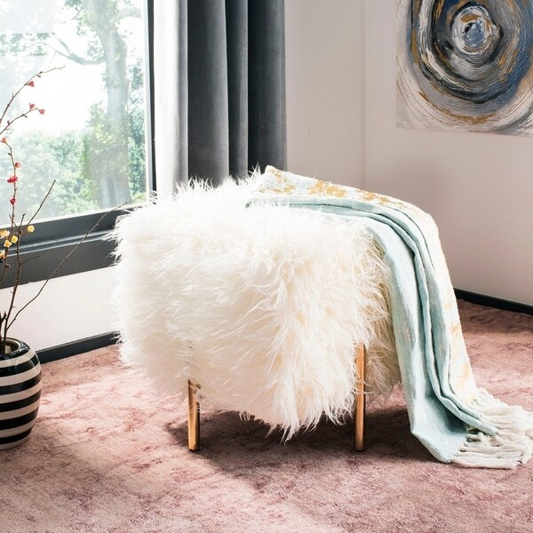 Shop Safavieh Momina White Brass Faux Fur Square Glam