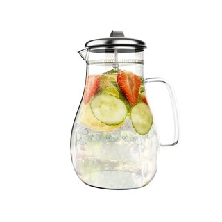 Glass Pitcher-64oz. Carafe with Stainless Steel Filter Lid- Heat Resistant to 300F-For Water, Coffee and more by Classic Cuisine