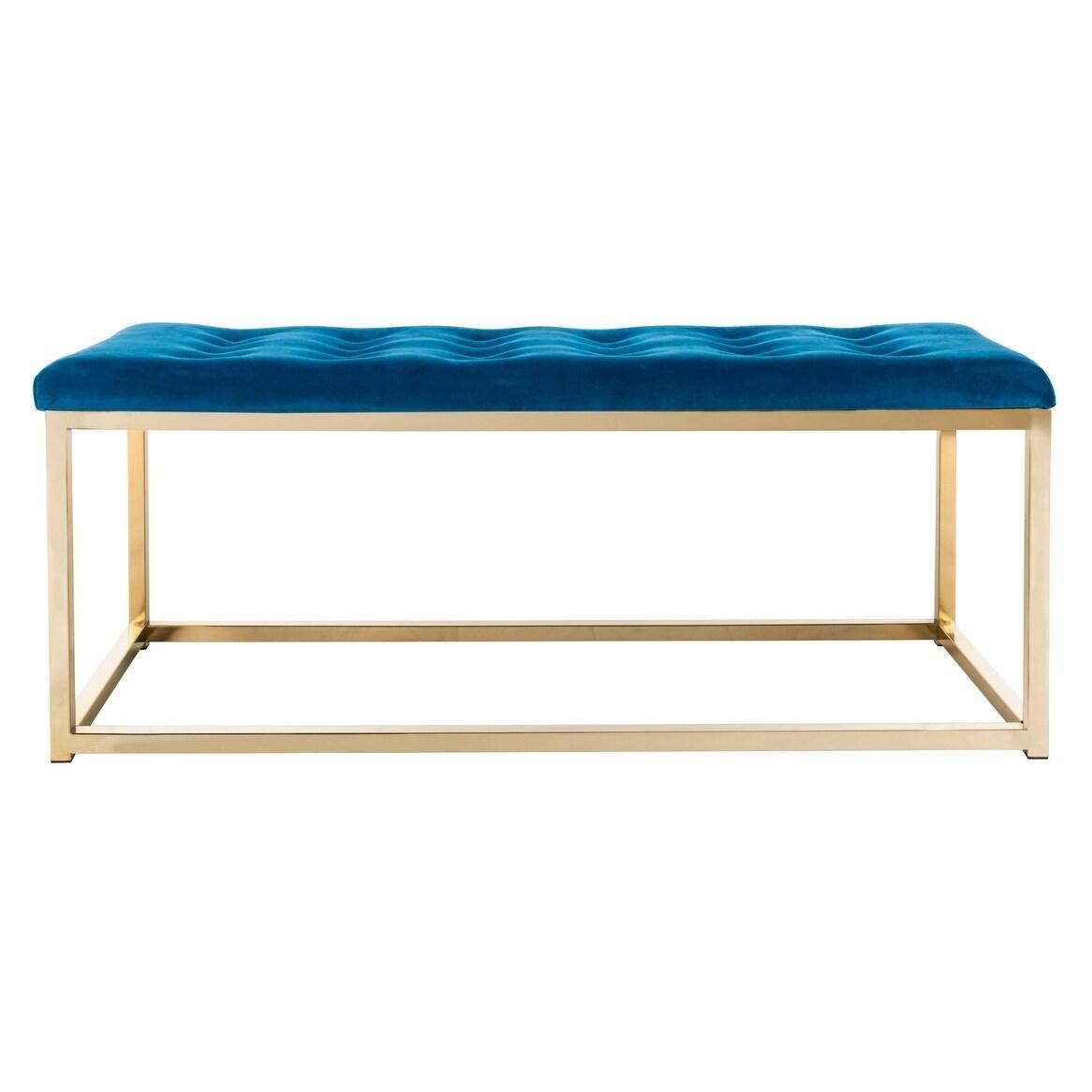 Surprising Safavieh Reynolds Navy Brass Glam Bench 48 X 18 X 19 Spiritservingveterans Wood Chair Design Ideas Spiritservingveteransorg
