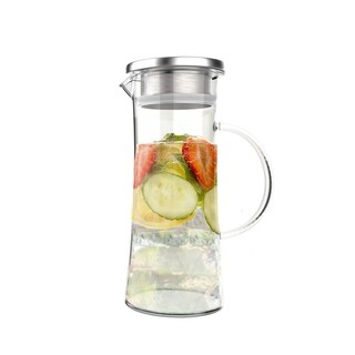 Glass Pitcher-50oz. Carafe with Stainless Steel Filter Lid- Heat Resistant to 300F-For Water, Coffee and More by Classic Cuisine