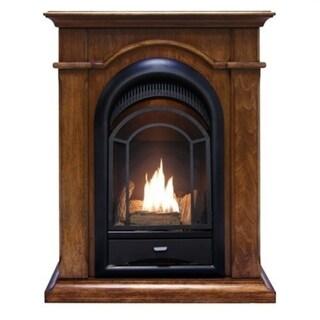 ProCom Ventless Dual Fuel Fireplace System With Corner Combo - Walnut Finish - 15,000 BTU