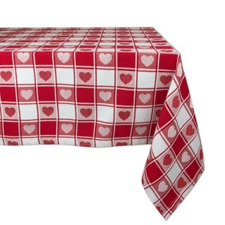 Charmant Design Imports Woven Check Hearts Kitchen Tablecloth (84 Inch Wide X 60  Inch Long)