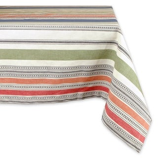 Design Imports Warm Stripe Kitchen Tablecloth (84 Inch Wide x 60 Inch Long)