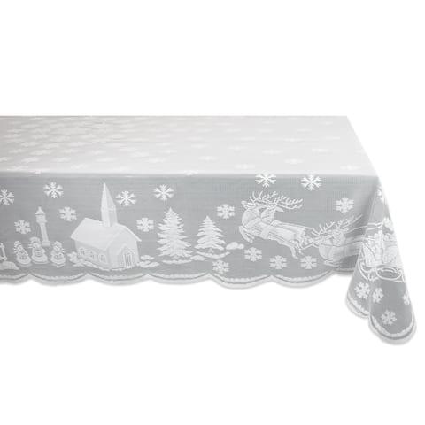 Design Imports White Snow Village Lace Kitchen Tablecloth
