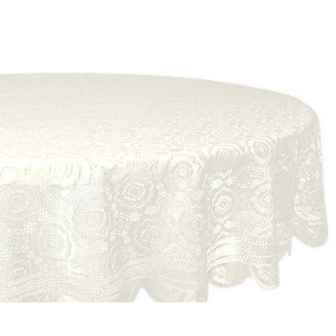 Design Imports Round Cream Vintage Polyester Lace Kitchen Tablecloth (63 Inch Wide x 63 Inch Long)