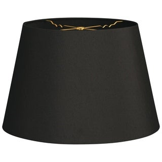 Royal Designs Tapered Shallow Drum Hardback Lamp Shade, Black, 12 x 16 x 11