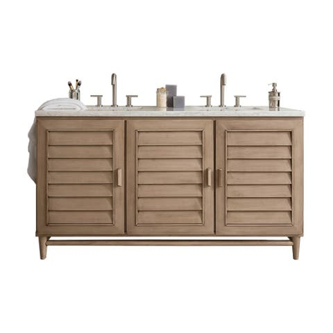 Portland 60 Double Vanity White Washed Walnut