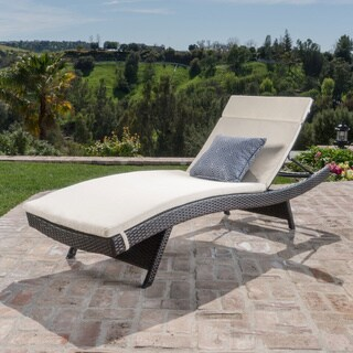Sienna Outdoor Colored Water Resistant Chaise Lounge Cushion - Beige (ONLY) by Christopher Knight Home in Beige (As Is Item)