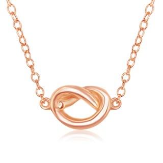 """La Preciosa Sterling Silver High Polish Small Knot 16+2"""" Necklace (Option: Rose)"""