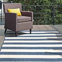 "nuLOOM Blue Indoor/Outdoor Casual Chevron Stripes Area Rug - 7' 6"" x 10' 9"""
