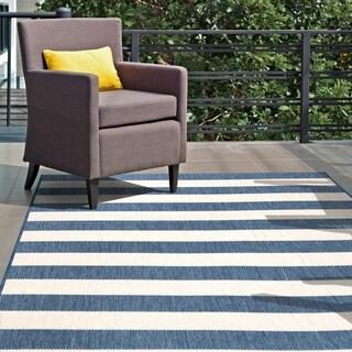 "nuLOOM Blue Indoor/Outdoor Casual Chevron Stripes Area Rug - 8' 6"" x 13'"
