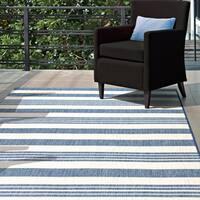 "nuLOOM Blue Indoor/Outdoor Lavish Solid & Striped Area Rug - 5'3"" x 7'6"""