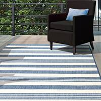 "nuLOOM Blue Indoor/Outdoor Lavish Solid & Striped Area Rug - 7'6"" x 10'9"""