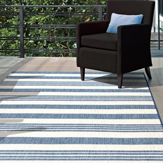 "nuLOOM Blue Indoor/Outdoor Lavish Solid & Striped Area Rug - 7' 6"" x 10' 9"""
