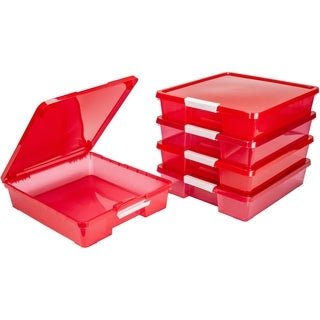 12x12 Classroom Student Project Box/Translucent Red (5 units/pack)