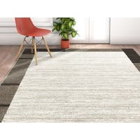 "Well Woven Modern Border Solid Ivory Area Rug - 3'11"" x 5'3"""