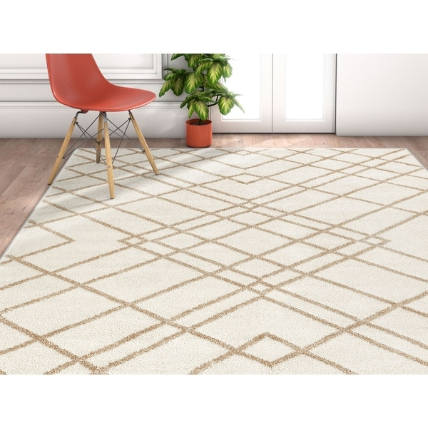 "Well Woven Modern Geometric Plaid Ivory Area Rug - 3'11"" x 5'3"""