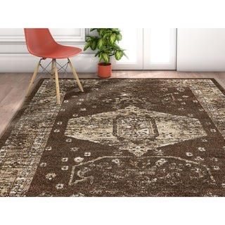 """Well Woven Traditional Vintage Medallion Brown Area Rug - 9'3"""" x 12'6"""""""