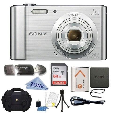 Sony DSC-W800/S 20 MP Digital Camera 5x Optical Zoom (Silver) Bundle W/ 64GB Memory Card, Table top Tripod, Deluxe Case Bundle