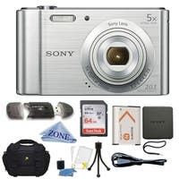 Sony DSC-W800/S 20 MP Digital Camera 5x Optical Zoom (Silver) Bundle W/ 64GB Memory Card, Table top Tripod, Deluxe Case Bundle