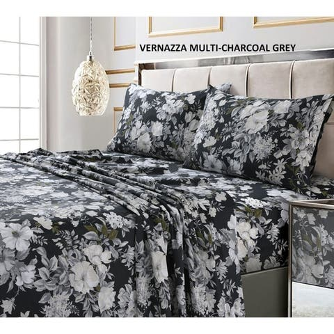 300 Thread Count Cotton Ultra-soft Printed Deep Pocket Bed Sheet Set