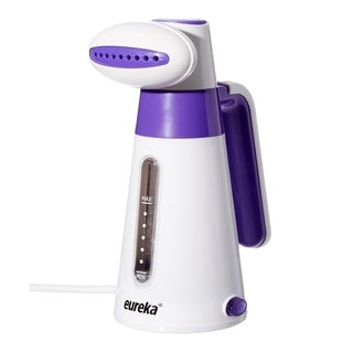 Portable Handheld Fabric Clothes Garment Steamer, Quick Heat With Travel Pouch, Small White/Purple, Eureka ERV2B