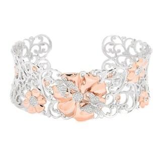 Michael Valitutti Palladium Silver Diamond Butterfly & Flower Cuff Bracelet - White