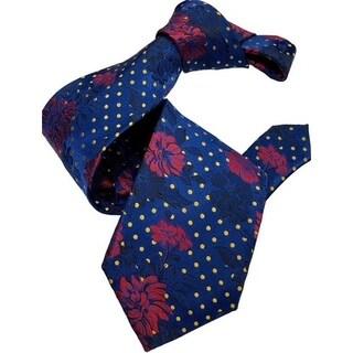DMITRY 7-Fold Royal Blue Floral Italian Silk Tie