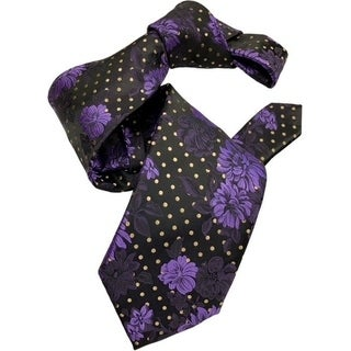 DMITRY 7-Fold Black and Purple Floral Tie