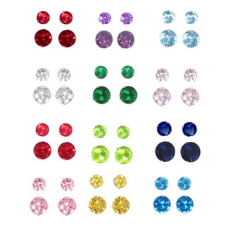 Sterling Silver Cubic Zirconia Set of Two Birthstone Stud Earrings