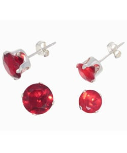 Journee Collection Sterling Silver Cubic Zirconia Set of Two Birthstone Stud Earrings