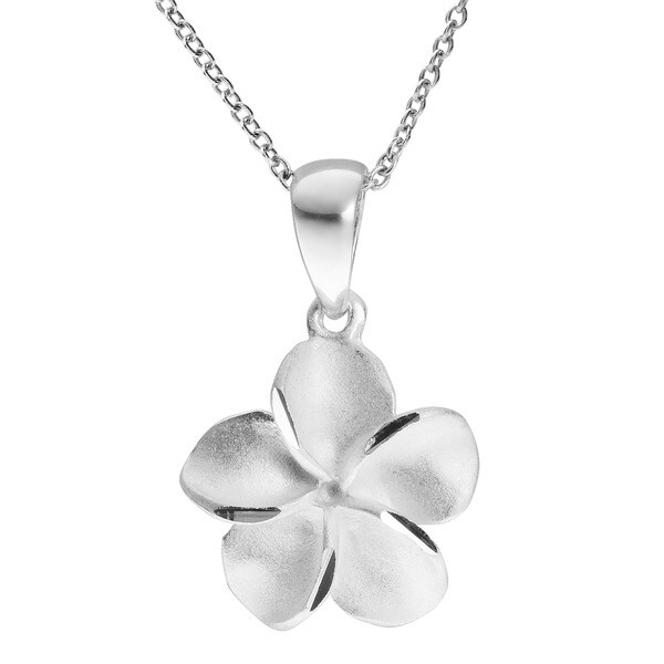 Journee Collection Sterling Silver Satin Finish Flower Necklace