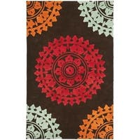 Safavieh Handmade Soho Chrono Brown/ Multi N. Z. Wool Rug - 3'6 x 5'6