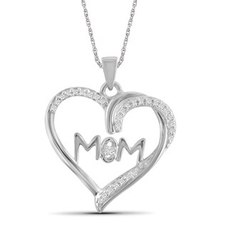 "JewelonFire 1/10 CTW Genuine White Diamond Sterling Silver ""MOM"" Heart Pendant"
